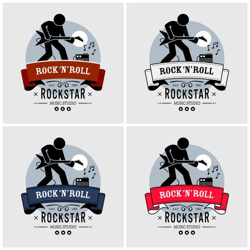 Rock-and-Roll-Logo-Design. vektor