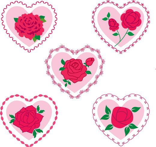rosa valentinhjärtan vektor