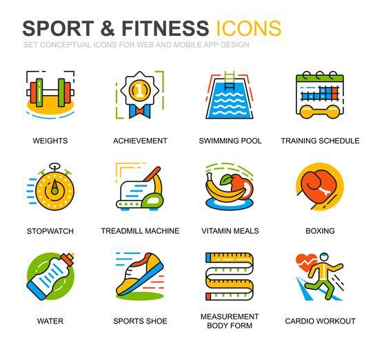 Einfaches Set für Sport- und Fitnesslinien-Icons für Website- und Mobile-Apps vektor