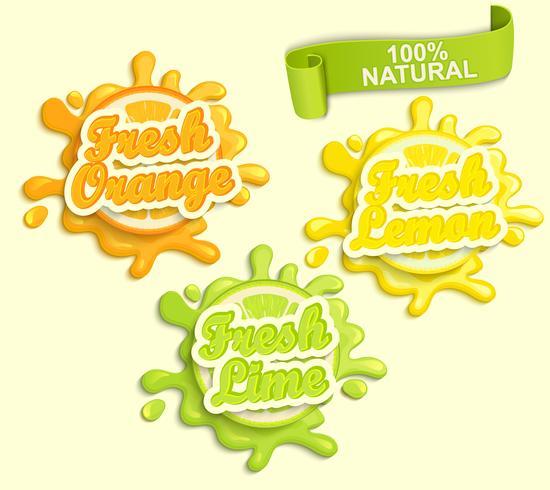 Sats citron, orange, lime juece etiketter stänk. vektor