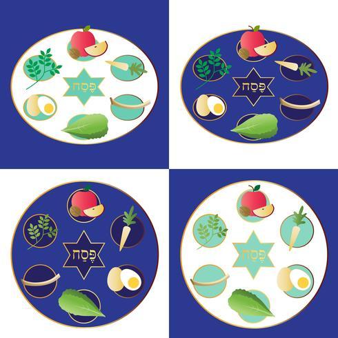 Passover seder plattor med mat vektor