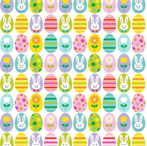 söt påskägg och och kaninbakgrundsmönster vektor