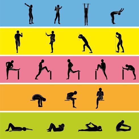 Stretching Exercise Icon Set zum Dehnen von Armen, Beinen, Rücken und Nacken. vektor