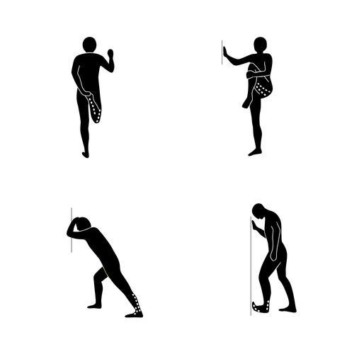 Stretching-Übungs-Icon-Set zum Ausdehnen der Beine. vektor