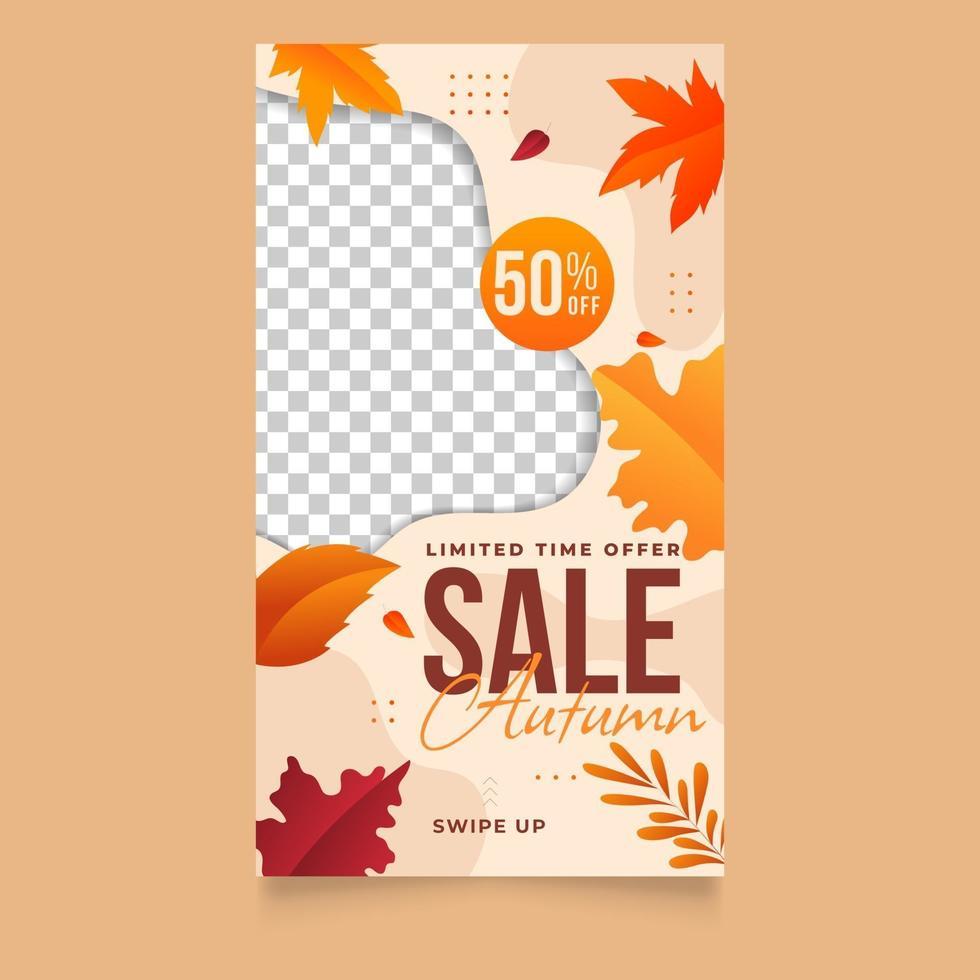 Herbstverkauf mit Farbverlauf für Social-Media-Geschichten-Vorlage vektor