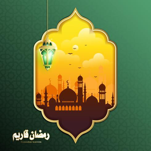Elegantes Design von Ramadan Kareem mit hängender Fanoos-Laterne und Moschee-Hintergrund vektor
