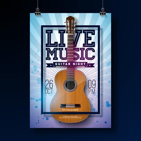 Levande musik flyer design vektor