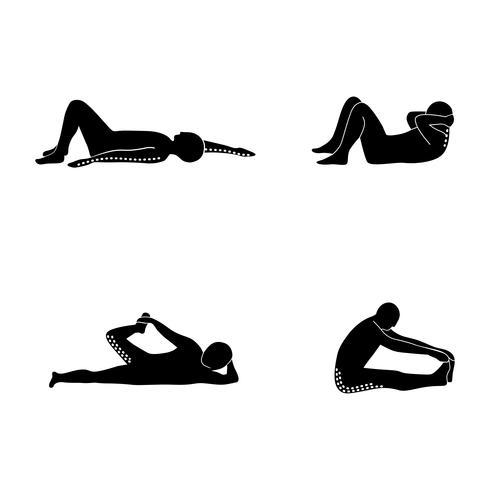 Stretching Exercise Icon Set zum Dehnen von Armen, Beinen, Rücken und Nacken auf dem Boden. vektor