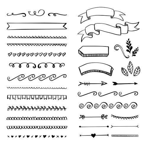 Handgemachte Flourishes Ornamente und Rahmen. vektor
