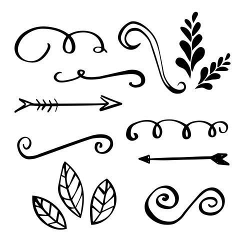 Handgemachte Ornamente und Rahmen. vektor