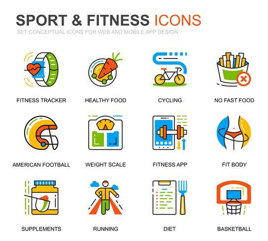 Enkel uppsättning sport- och fitnesslinjeikoner för webbplats- och mobilapps vektor