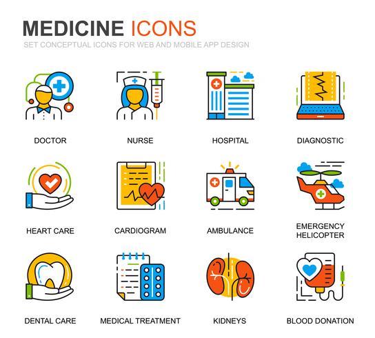 Enkel uppsättning sjukvård och medicinlinje ikoner för webbplatsen vektor