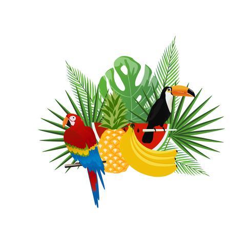 Tropischer Hintergrund mit Tukan, Papagei und Früchten vektor