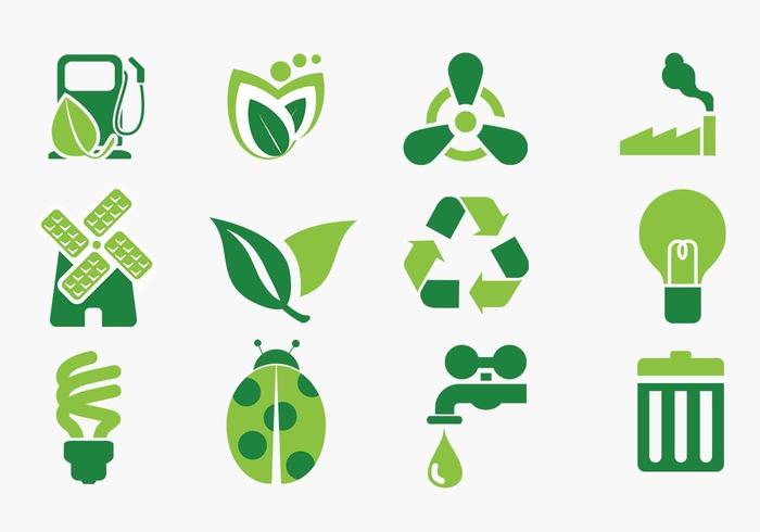 Grüne Eco Icon Vector Pack