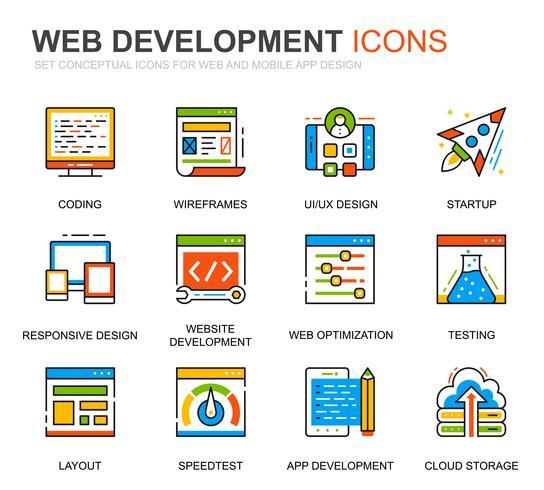Enkel Set Web Disign och Utveckling Linje Ikoner för webbplatsen vektor