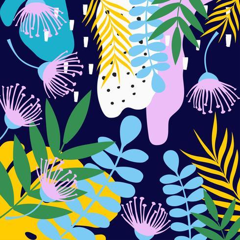 Tropischer Dschungel verlässt und blüht Hintergrund. Buntes tropisches Plakatdesign vektor