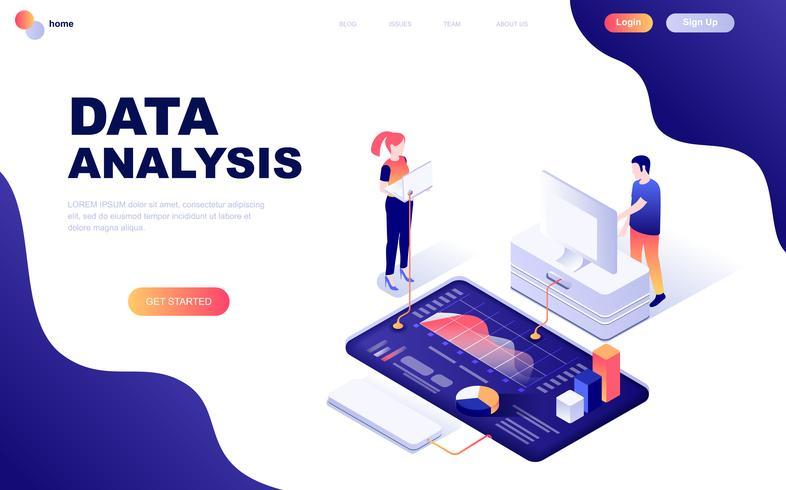 Modern plandesign isometrisk koncept för revision, dataanalys vektor