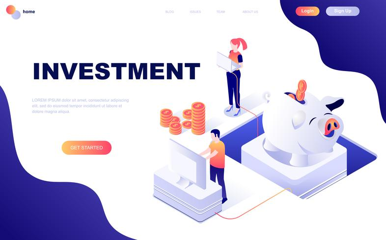 Modernt plandesign isometrisk koncept för affärsinvesteringar vektor
