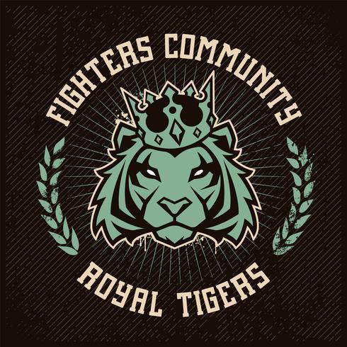 Emblemdesign med tiger i krona vektor