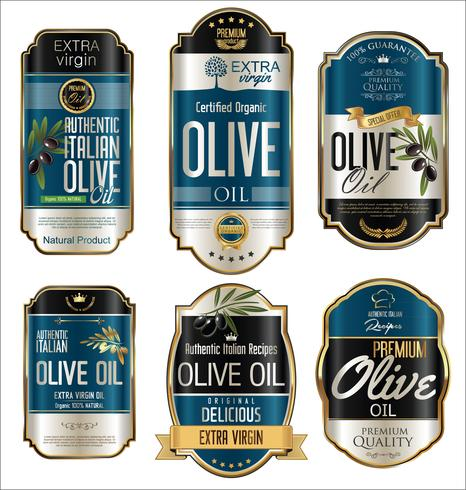 Goldene Hintergrundsammlung der Retro Weinlese des Olivenöls vektor