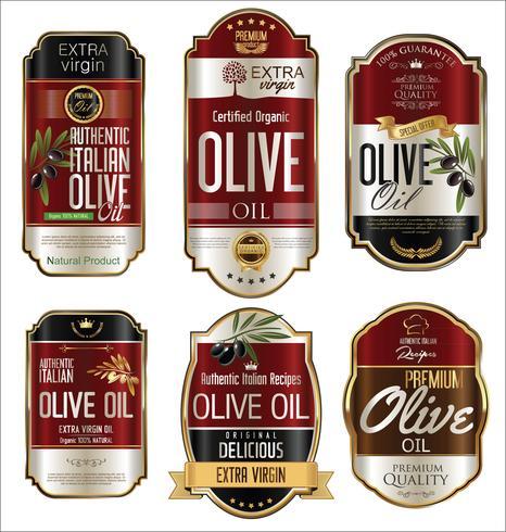 Olivolja retro vintage guld bakgrundssamling vektor