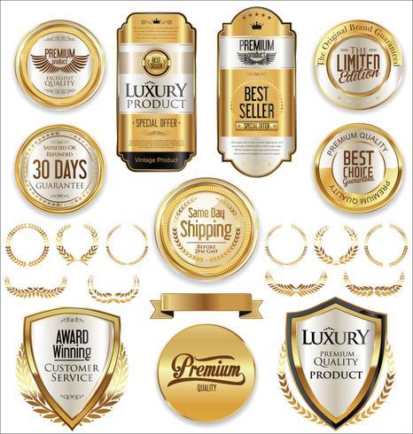 Luxus-Premium-Goldene Abzeichen und Etiketten vektor