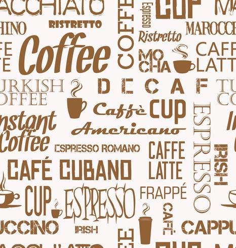 Bakgrund sömlös kakel av kaffe ord och symboler vektor