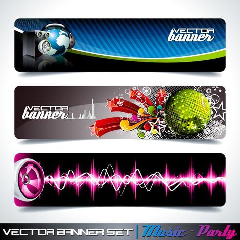 Vektorfahne eingestellt auf ein Musik- und Partythema. vektor