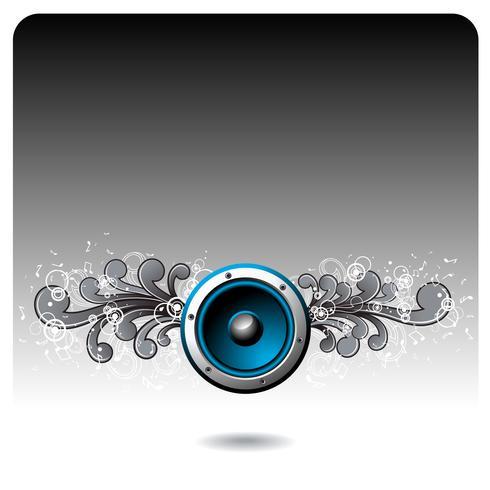 Vektor blå högtalare med grunge blommiga element.