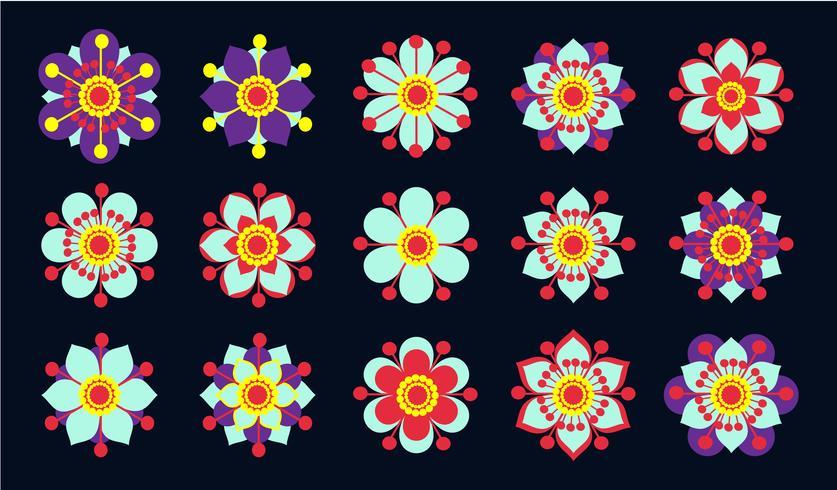 Sats med vintageblå blommor. vektor