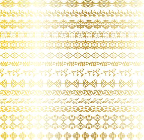 guld utsmyckade gränser vektor