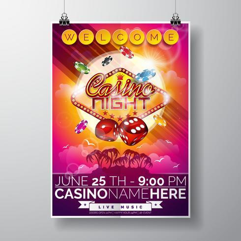 Vector Party Flyer design på ett kasinotema med chips och tärningar