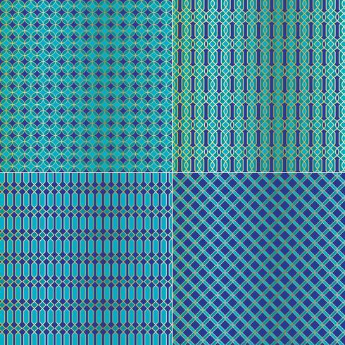 blå guld metalliska marockanska geometriska kakel mönster vektor