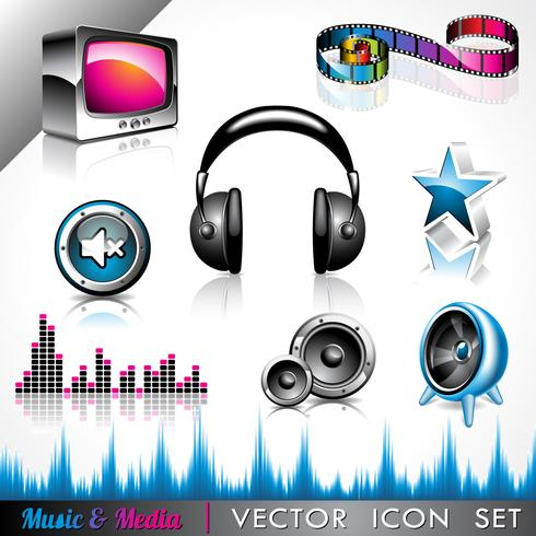 ikon samling med ett musik och media tema. vektor