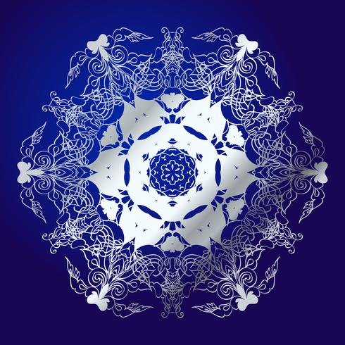 Mandala, Amulett. Esoterisches silbernes Symbol auf einem blauen Hintergrund. vektor