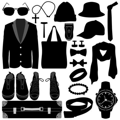 Herrkläder Accessoarer Design. vektor