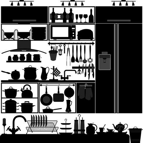 Küchenutensilien Interior Design. vektor