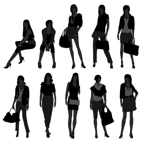 Kvinnliga modemodeller. vektor