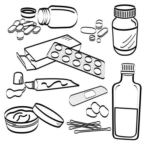 Medical Product Doodles. vektor