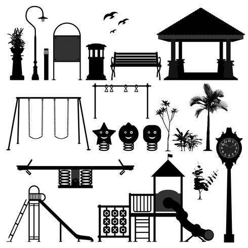 Lekplats Park Trädgård Utrustning. vektor