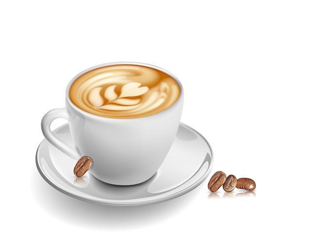 Kopp kaffe på glasbord på vit bakgrund. vektor