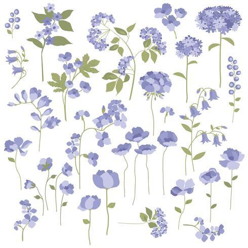 Hand gezeichnete purpurrote Blumen vektor