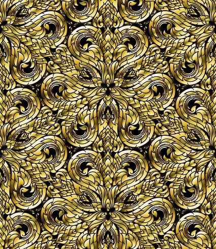Line Thai sömlösa mönster, thailändsk traditionell konst modifierades till guldton. vektor