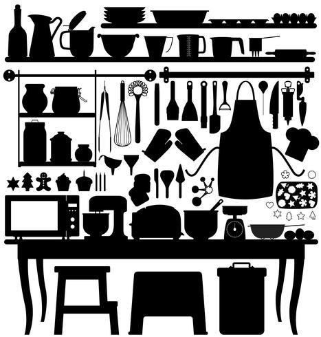Gebäck-Küchenwerkzeug backen. vektor