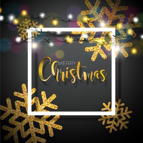 Julbakgrund med typografi och glänsande glittrande snöflingor vektor