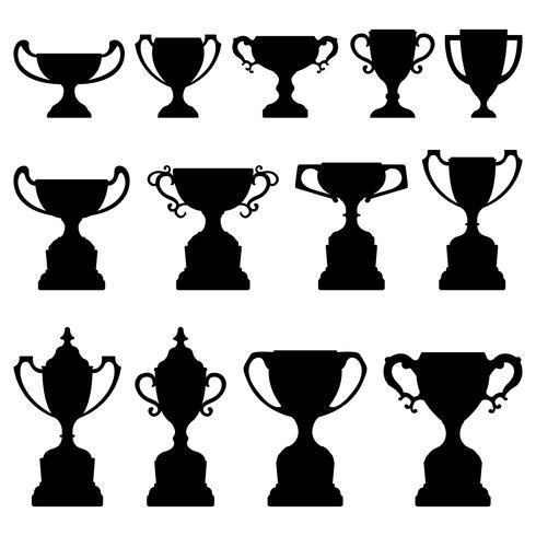 Trophy Cup Silhouette Black Set. vektor