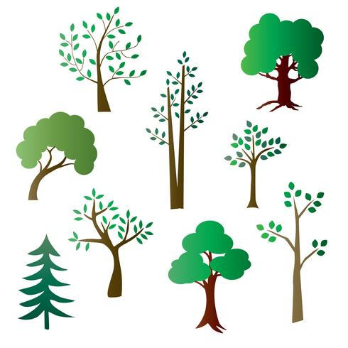 Farbverlaufsbäume vektor
