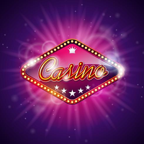 """""""Casino"""" tänds tecken med ljus som lyser bakom vektor"""