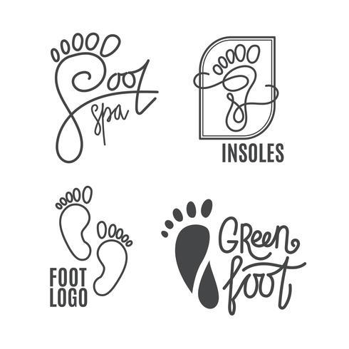 Fuß-Silhouette Gesundheitszentrum, orthopädischer Salon. Nackter Fuß unterschreiben. vektor