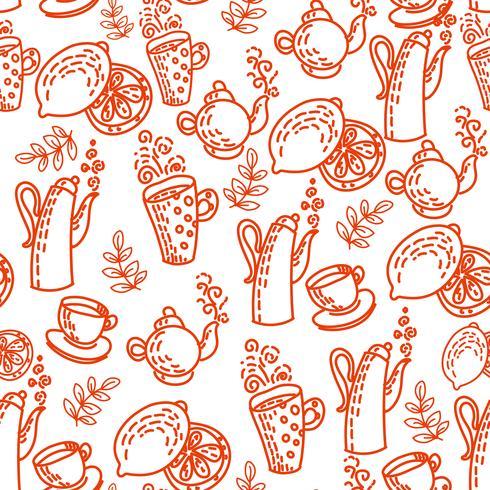 Rotes nahtloses Muster mit Teetassen. vektor